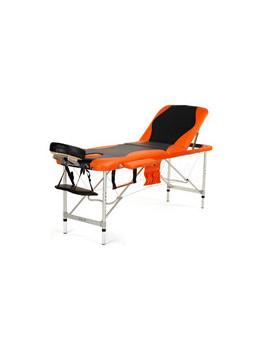 STÓŁ Łóżko DO MASAŻU 3 SEGMENTOWE aluminiowe czarno - pomarańczowe
